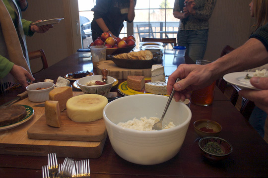 Cheese tasting at the November 2009 Home Cheesemaking workshop.