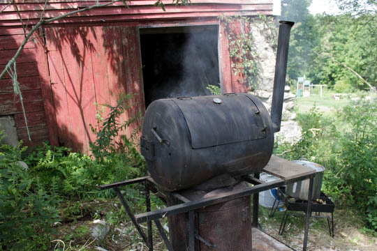 And we finally tried out the smoker we bought at a yard sale last summer...
