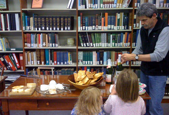 Tastings at the Gray Public Library has been a big success. Steve Arsenault serves the girls some cider -- better that, than his home roasted coffee that he shared with us in June.