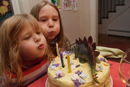 Bea and Charlotte blow out the stegasaurus cake