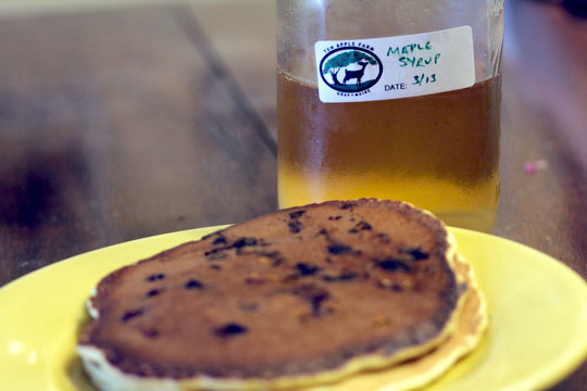 Blueberry pancakes with Ten Apple Farm maple syrup!