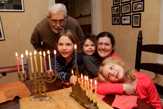 """Grampa Steve"" with Charlotte, Sadie, Margaret and Beatrice, Hanukkah 2013"
