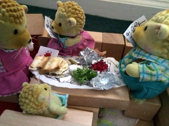 The Swiftsweepers Hedgehog family sits down to their Passover Seder.