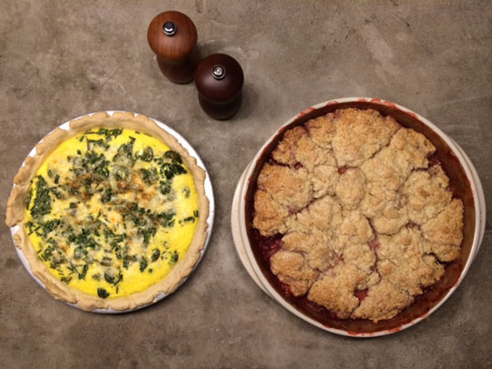 The tastes of spring: fiddlehead quiche and strawberry rhubarb cobbler