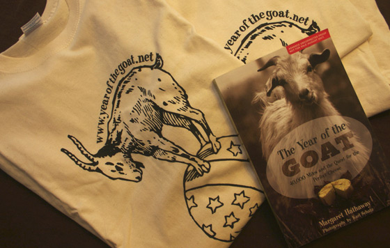 Up for grabs: YOTG t-shirts, and a signed original galley of The Year of the Goat