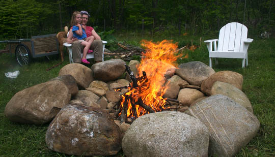 Margaret and Charlotte enjoy a camp fire in our new fire pit.