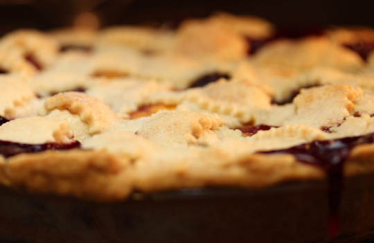 And what would summer be without fruit pie? This one was peach and cherry. Yum.