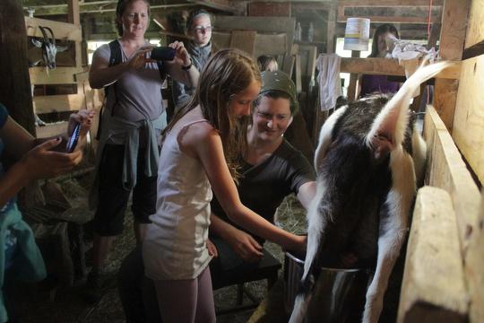 Milking lesson post goat hike